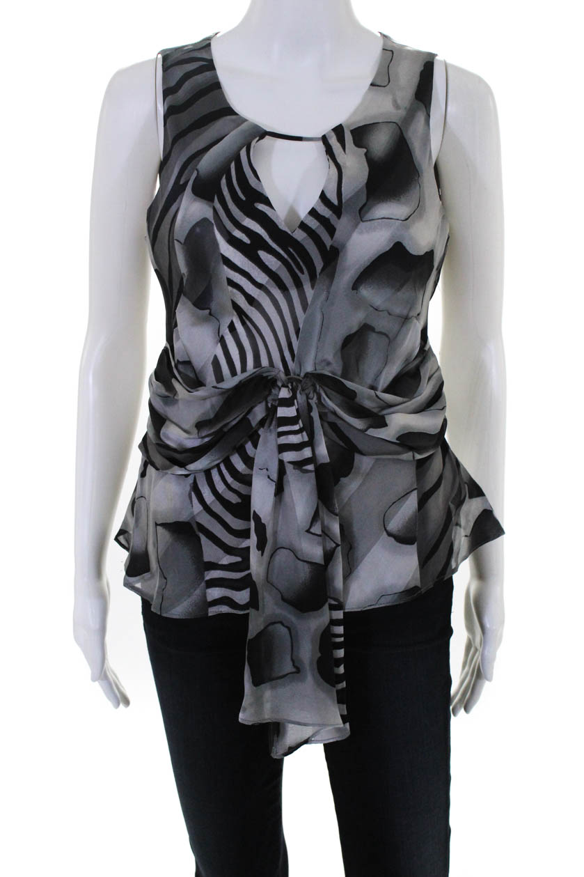 fa44e4a20bed8b Details about Angel Nina Womens Silk Printed Sleeveless Tie Front Blouse  Gray Size 40 European