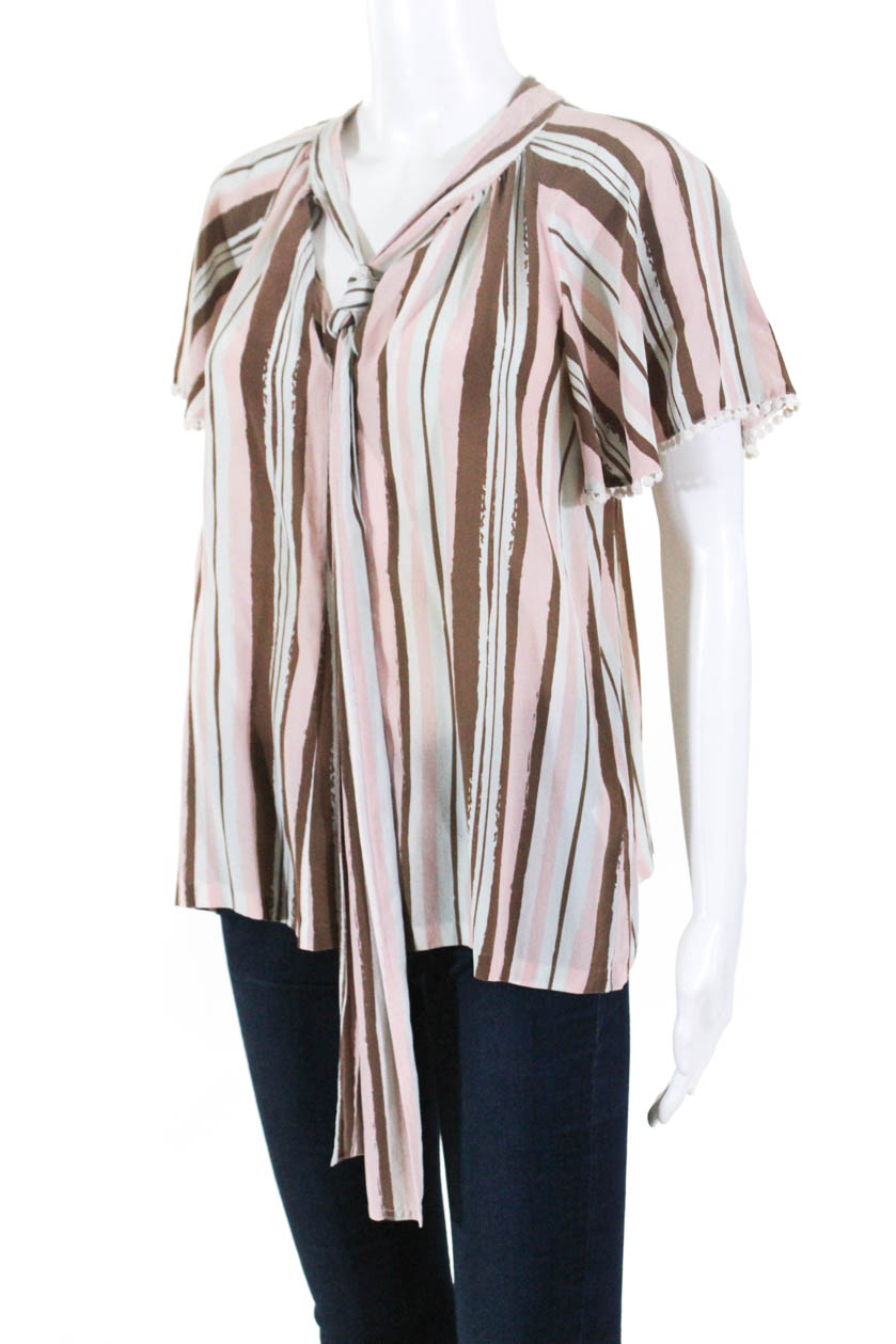 9f298670fe6199 Raoul Womens Woven Raffaella Silk Tie Blouse Pink Brown Blue Size 6 ...
