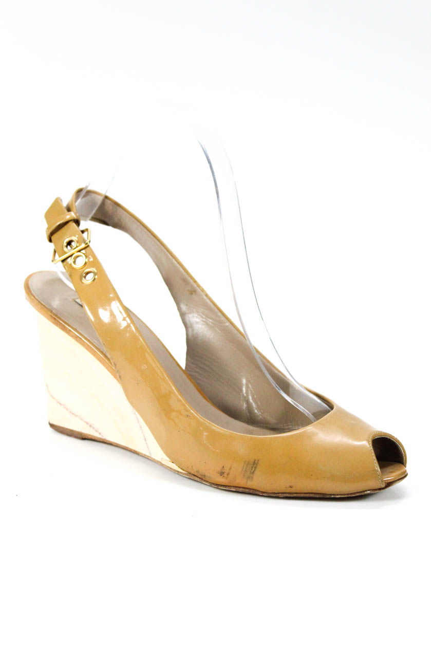 744144497 Details about Miu Miu Womens Buckle Strap Wedge Heel Shoes Beige Patent  Leather Size 37.5 7.5