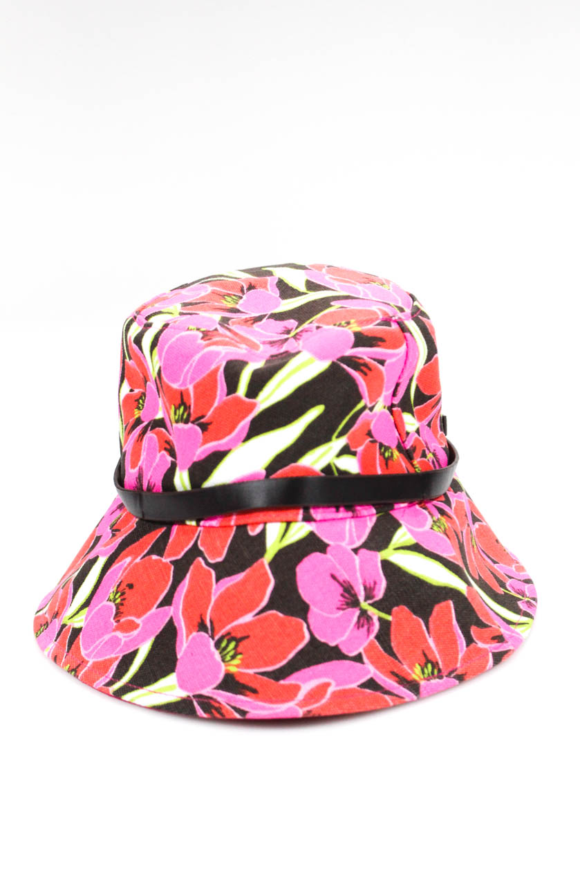 d29f3c288e374 Kate Spade New York Womens Floral Print Belted Bucket Hat Pink Red ...