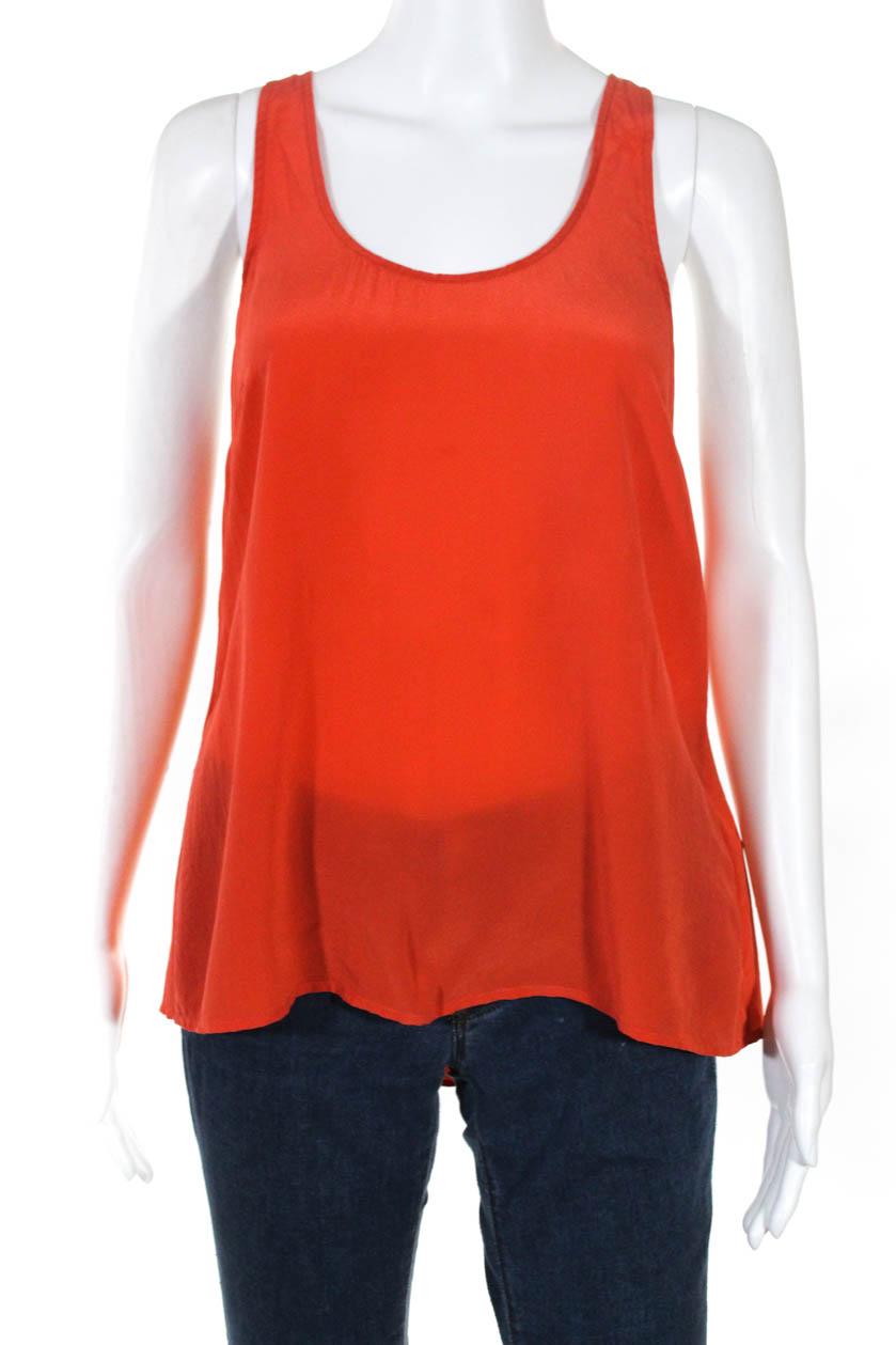 791abc860dca78 Joie Womens Scoop Neck Lightweight Silk Tank Top Red Size Medium