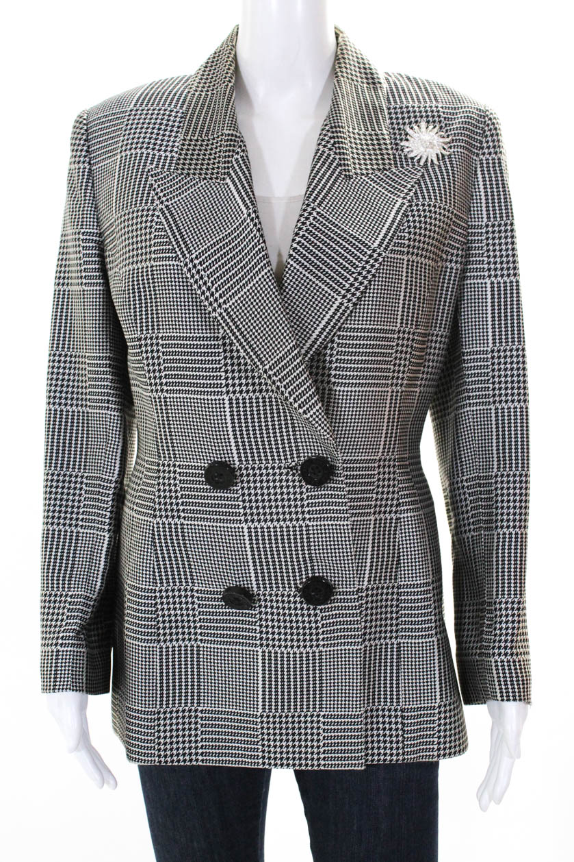 Women's Clothing United Escada Houndstooth Jacket Sz 8 New Worn Once