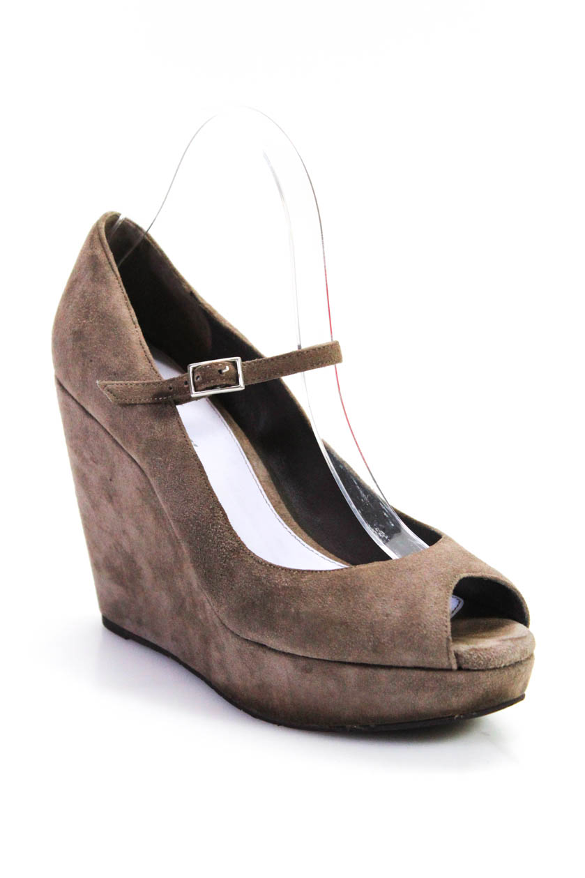 b1511652078 Delman Womens Peep Toe Wedges Heels Gray Suede Leather Size 7.5
