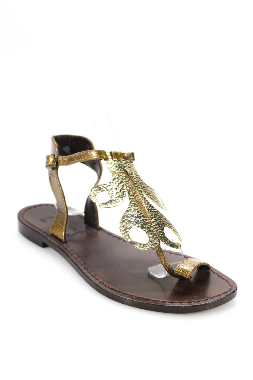 c6226dc6408af2 Miss Trish of Capri Womens Flat Heel T Strap Sandals Gold Size 7