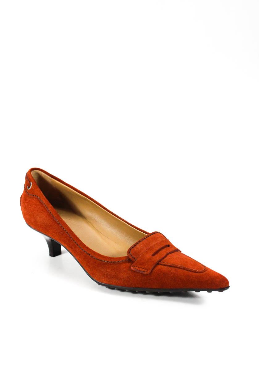 a567ff731bb Details about The Original Car Shoe Womens Point Toe Kitten Heel Pumps  Orange Suede Size 36 6