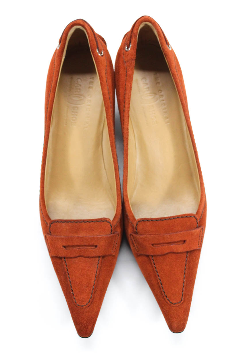 f1809590638 The Original Car Shoe Womens Point Toe Kitten Heel Pumps Orange ...