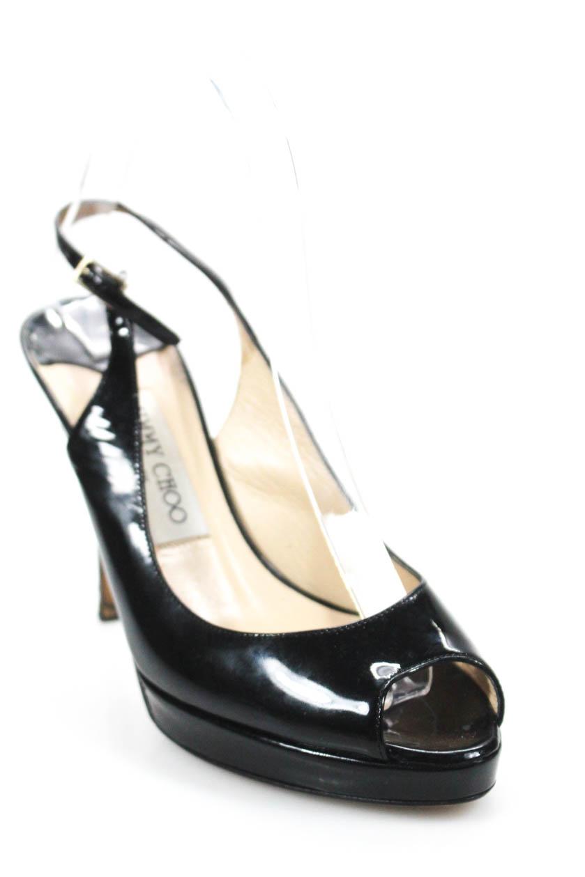 ec3cb64bc1f Details about Jimmy Choo Womens Patent Leather Peep Toe Slingbacks Pumps  Black Size 36 6