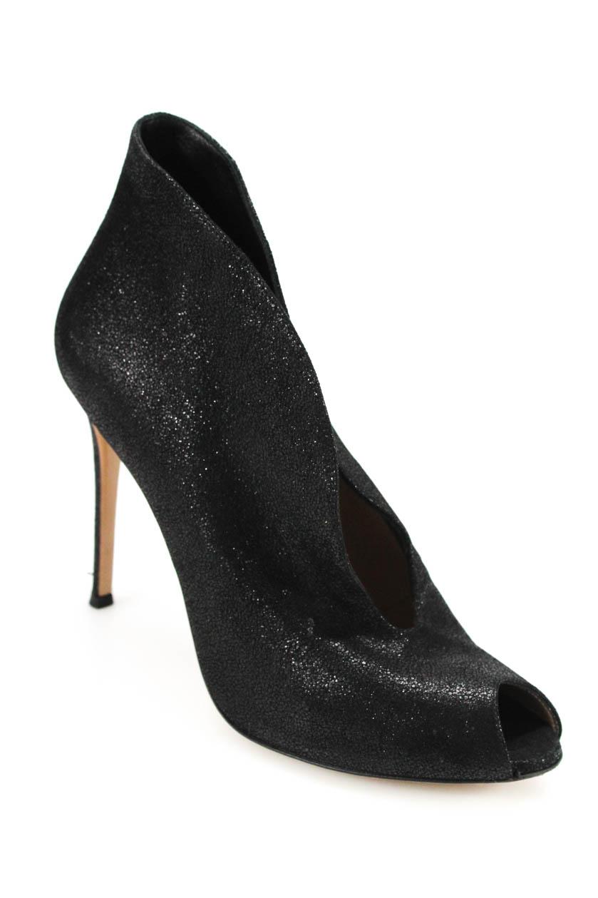 00b31d98e9 Details about Gianvito Rossi Womens Peep Toe Slim Heel Booties Black  Metallic Size 39.5 9.5