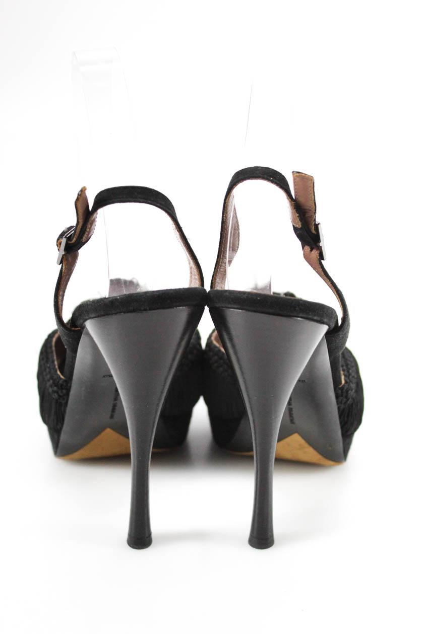 4ddd50ddf Tabitha Simmons Womens Fringe Peep Toe Slingback Pumps Black Suede ...
