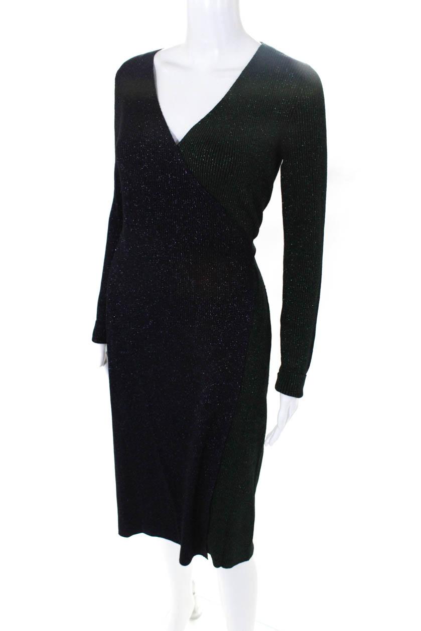 Diane Von Furstenberg Womens Wool Sparkle Wrap Sweater Dress Green ... 610f81334