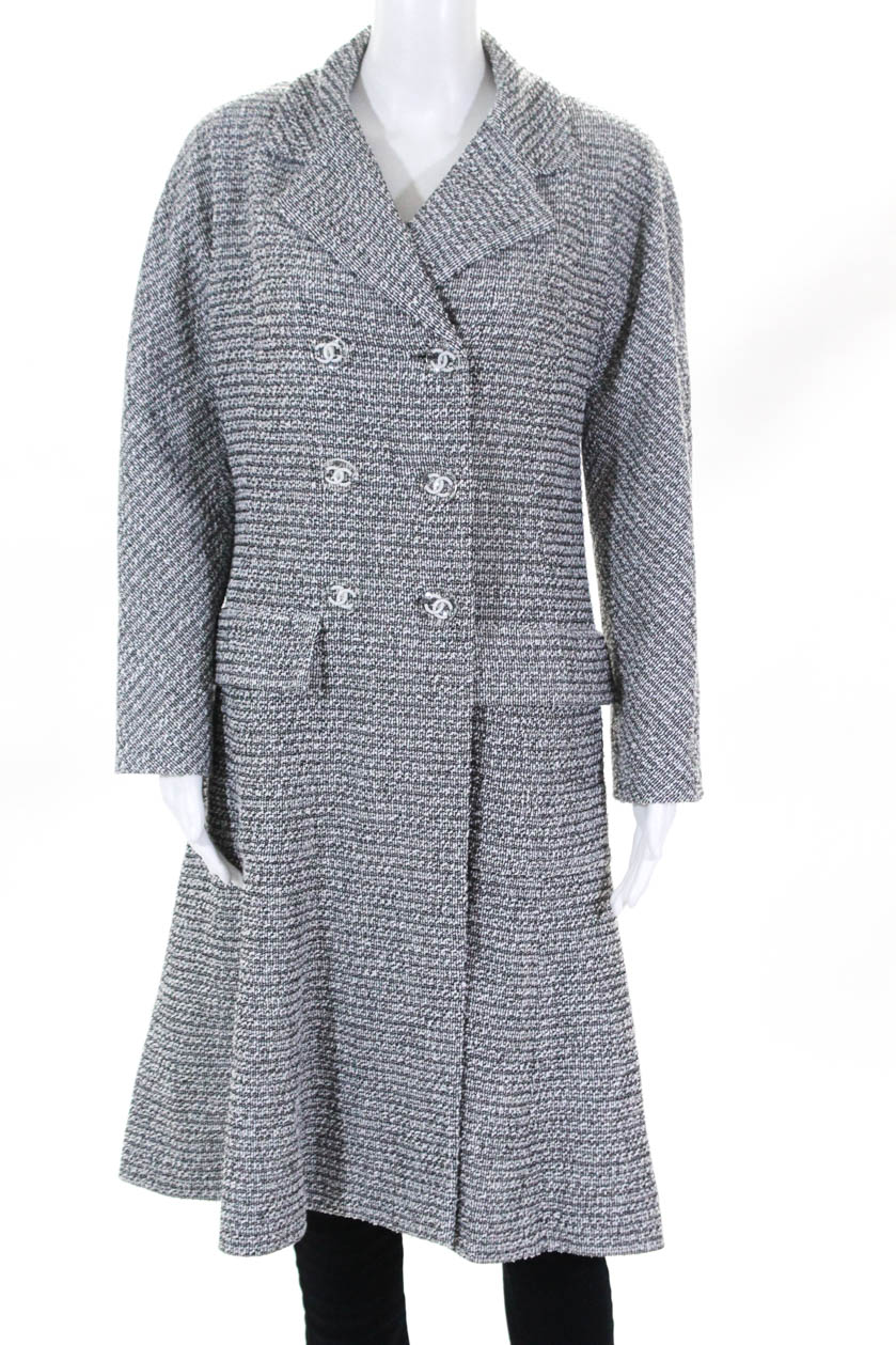 ab03a57e7cb Chanel Womens Spring 2018 Tweed Double Breasted CC Coat Gray Size 40  European