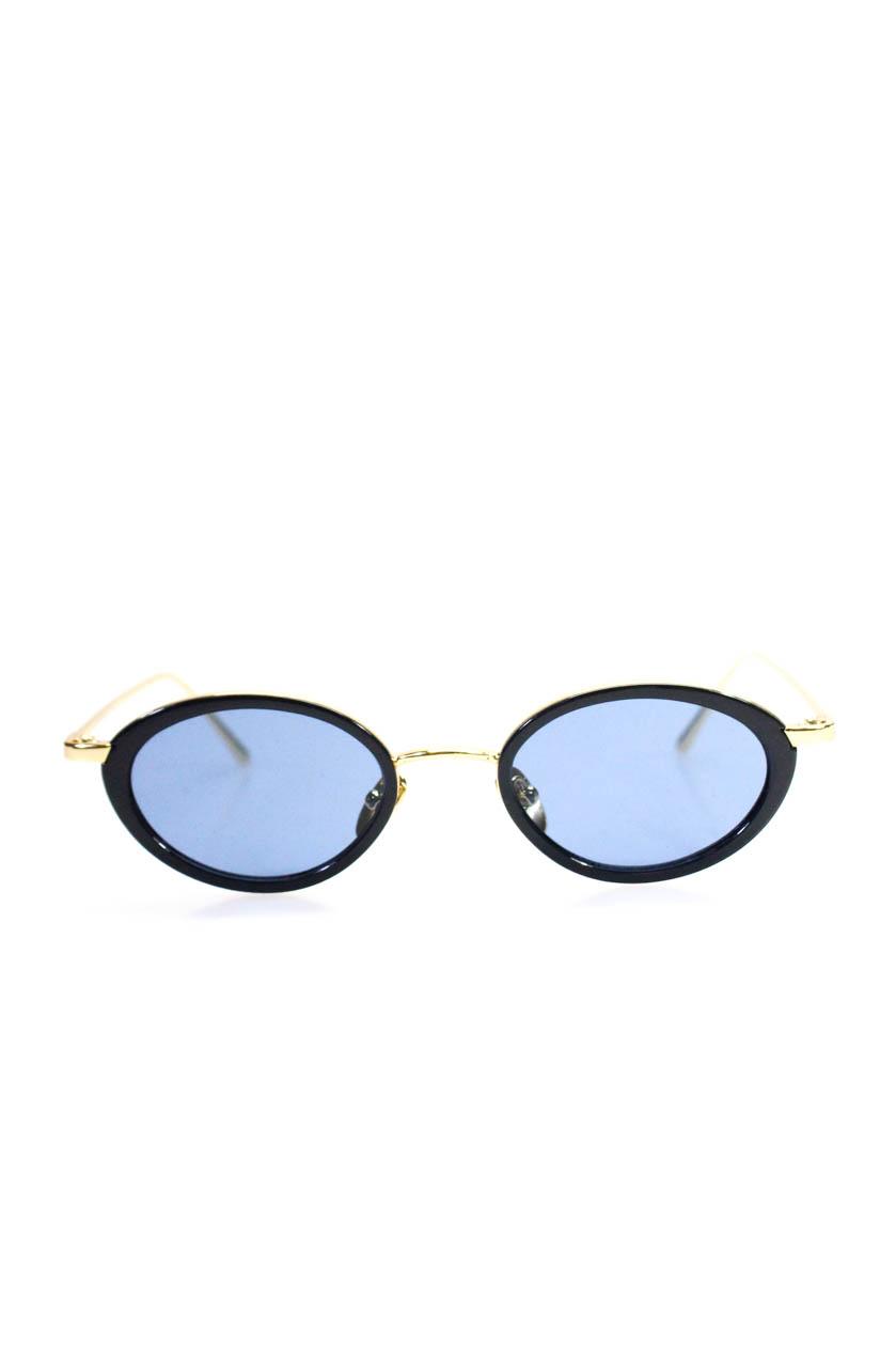 9877e58bf12e Le Specs Womens Metal Plastic Oval Luxe Boomi Sunglasses Blue Gold ...