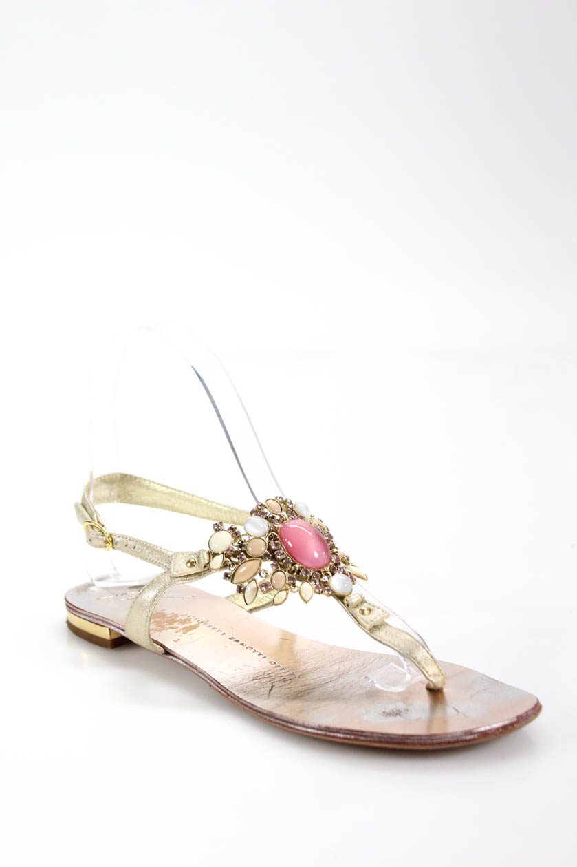155e917819de18 Giuseppe Zanotti Womens Jeweled T Strap Metallic Sandals Gold Pink ...