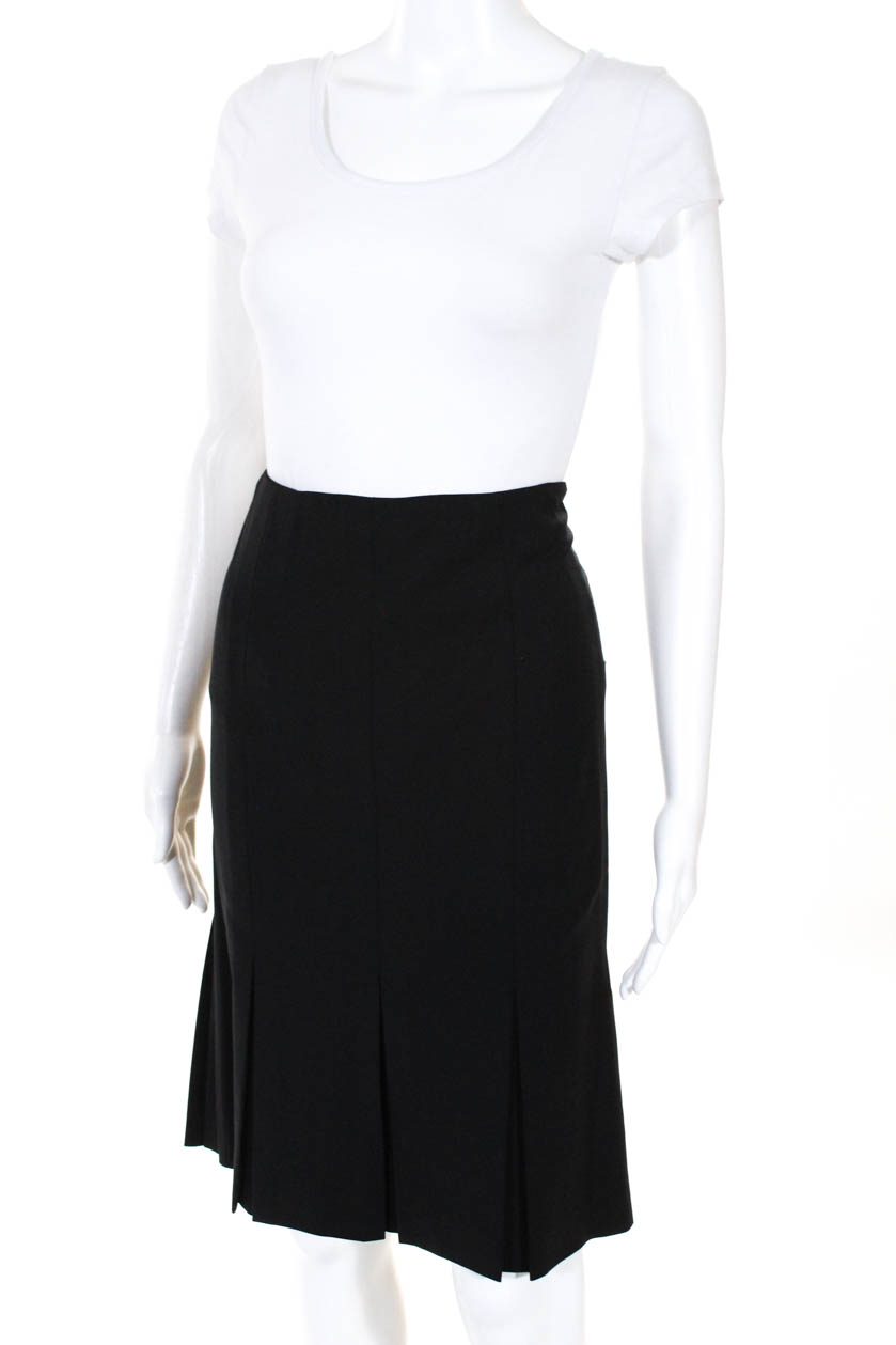 d0ccf76c9 Details about Theory Womens Knee Length Pleated Pencil Skirt Black Wool  Size 2