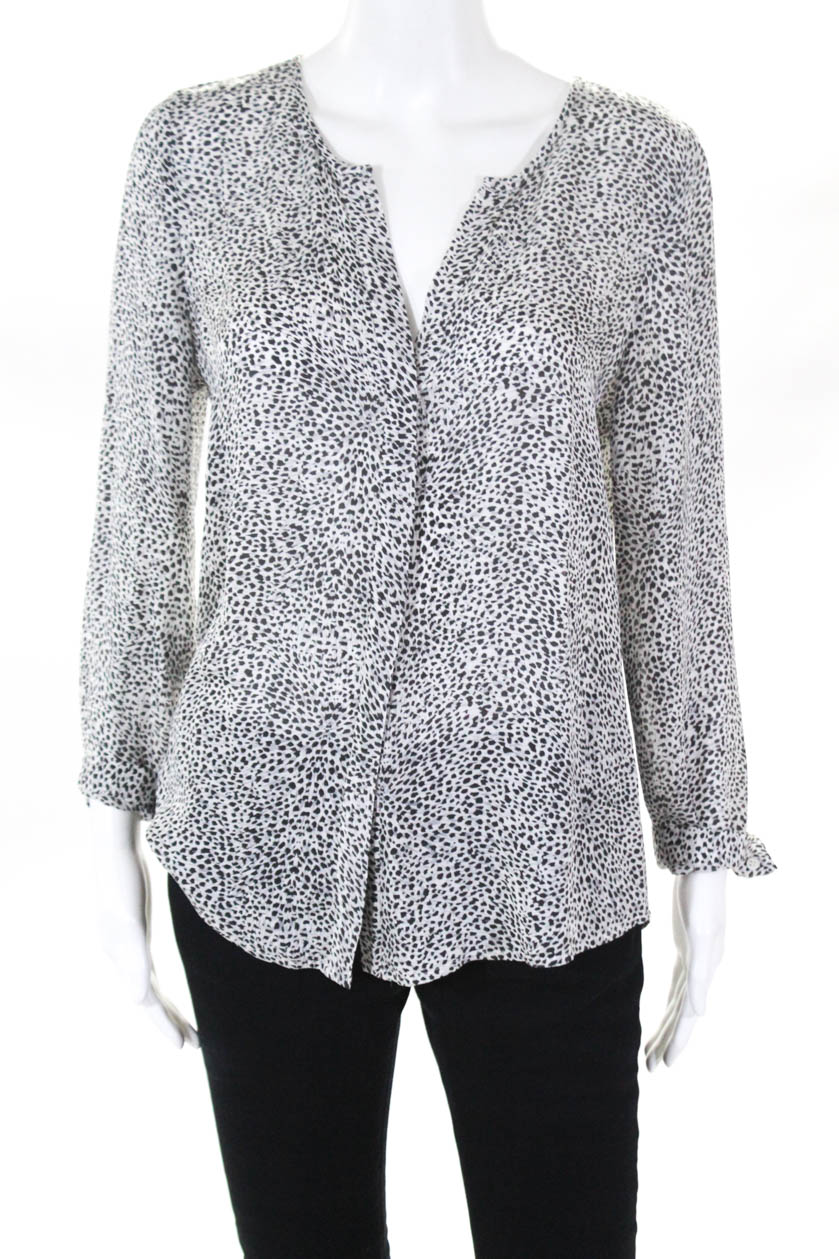 6f2a124618ce Details about Joie Womens Long Sleeve Blouse Top Black White Silk Animal  Print Size XS