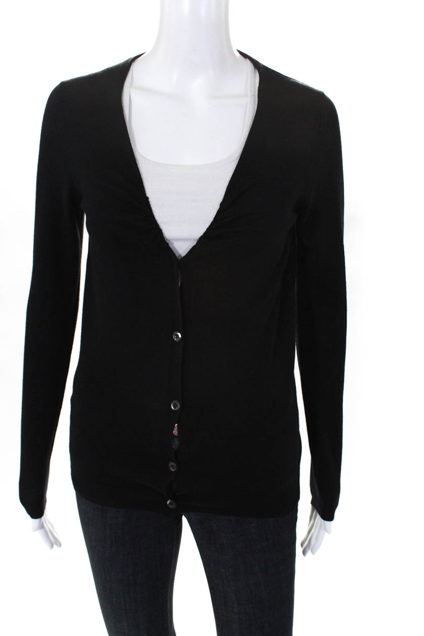 041be6885ca9 Details about Prada Womens V Neck Ruched Button Wool Cardigan Sweater Black  Size 42 Italian