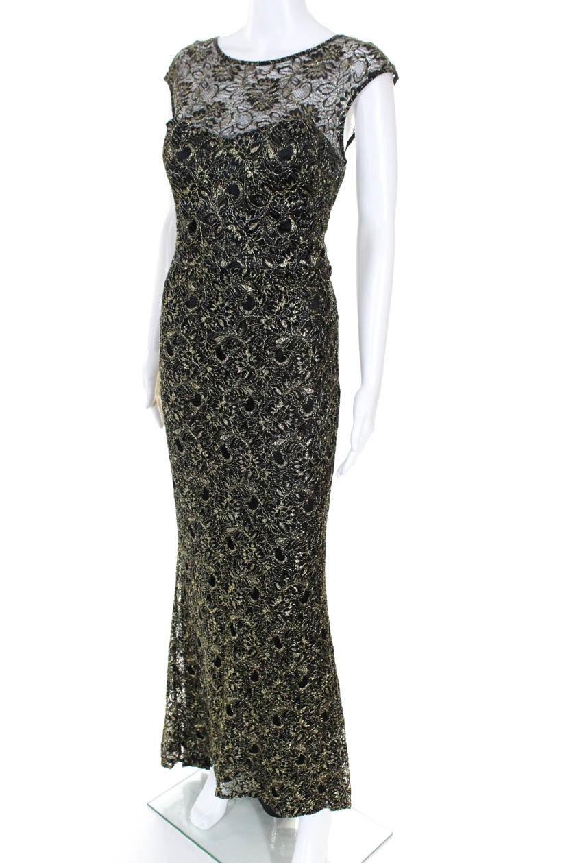 336764fc3b Theia Womens Edinburgh Metallic Lace Gown Black Gold Tone Size 12 ...