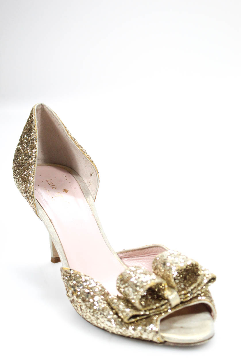 7a404b80397 Details about Kate Spade New York Womens Peep Toe Pumps Gold Glitter  Leather Size 9.5