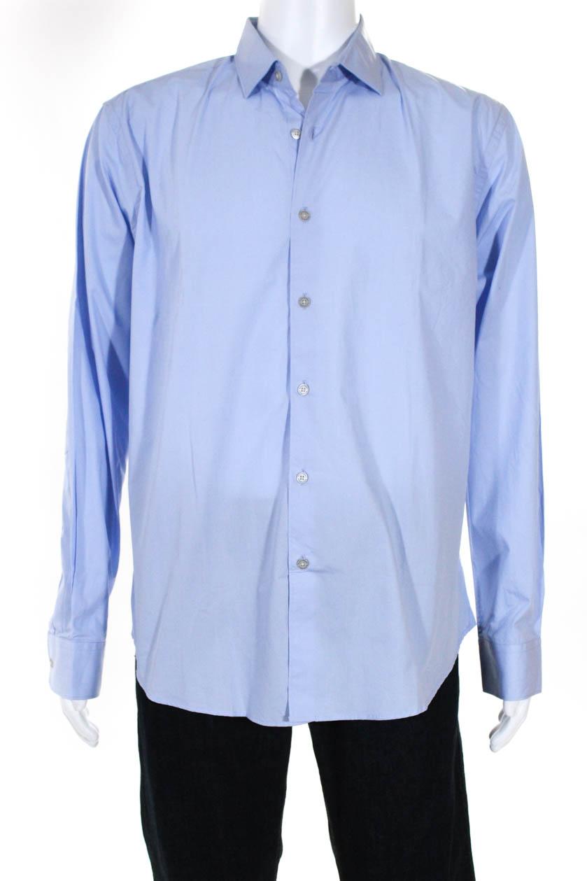 Les Canebiers Mens Divin Long Sleeve Button Down Shirt Navy Blue Size 3XL