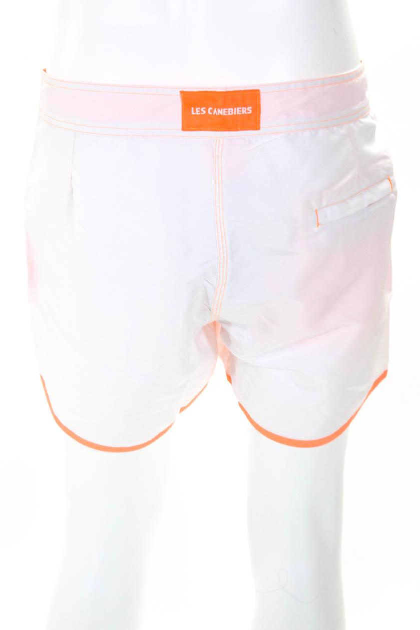 7951b6c6d3 Les Canebiers Mens Patch Drawstring Board Shorts White Neon Orange ...