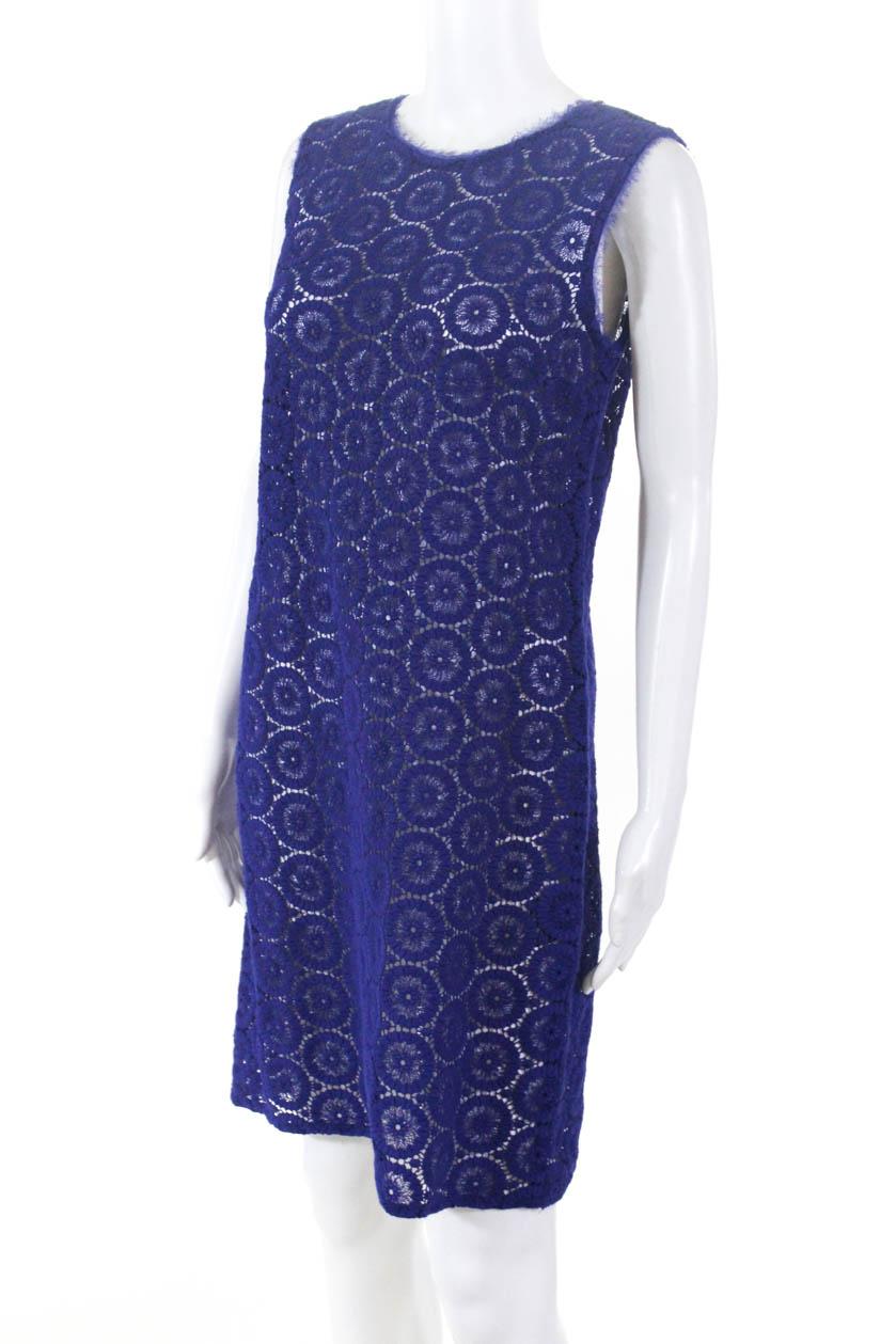 5e65ad2ff1b666 Elie Tahari Womens Zipper Back Scoop Neck Mini Dress Purple Cotton ...