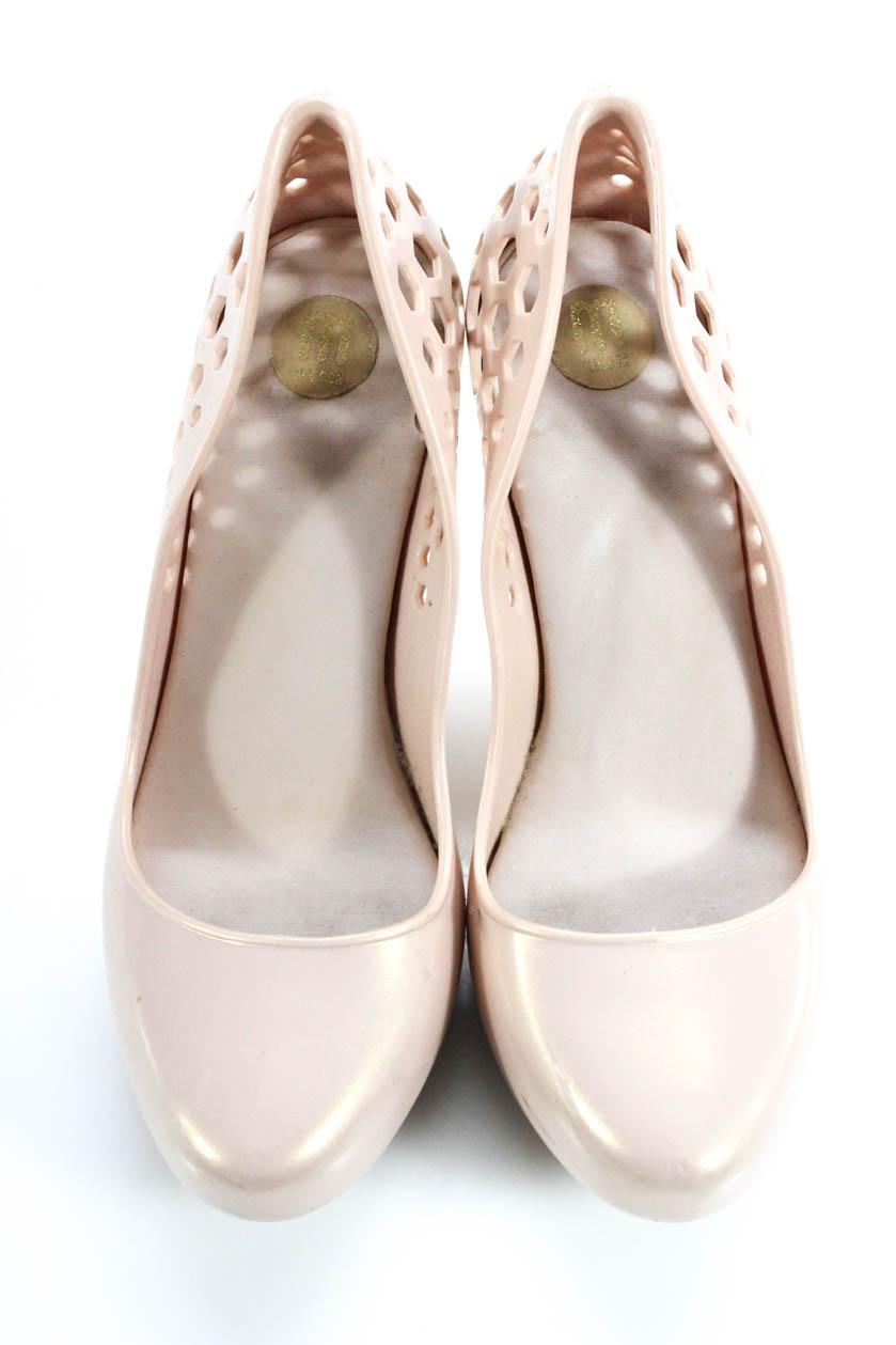 5077f6e538 Melissa Womens Perforated Round Toe Platform Pumps Blush Pink Gold ...