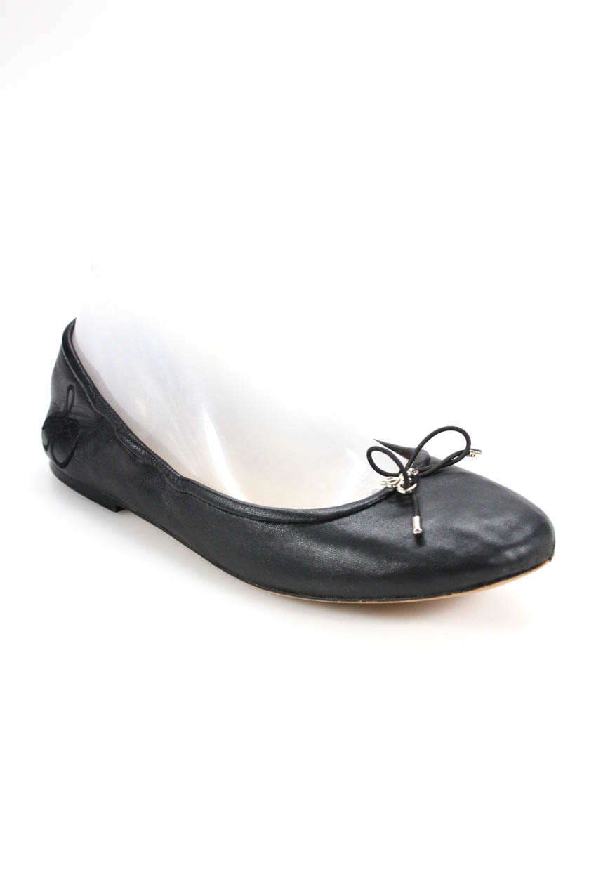 22718577246f4f Sam Edelman Womens Round Leather Bow Ballet Flats Black Size 8