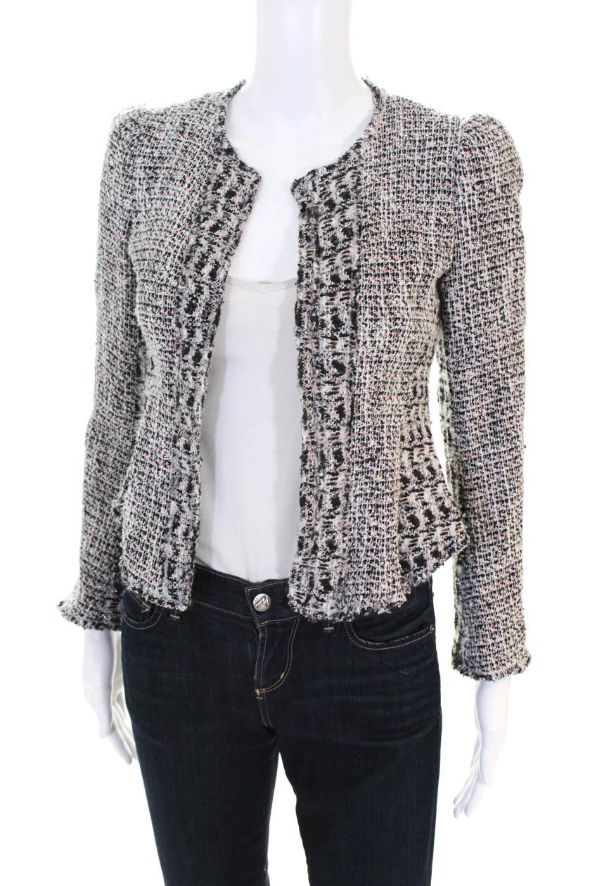 3b6ffbc468 Rebecca Taylor Womens Grey Mix Tweed Jacket Size 0 10692541