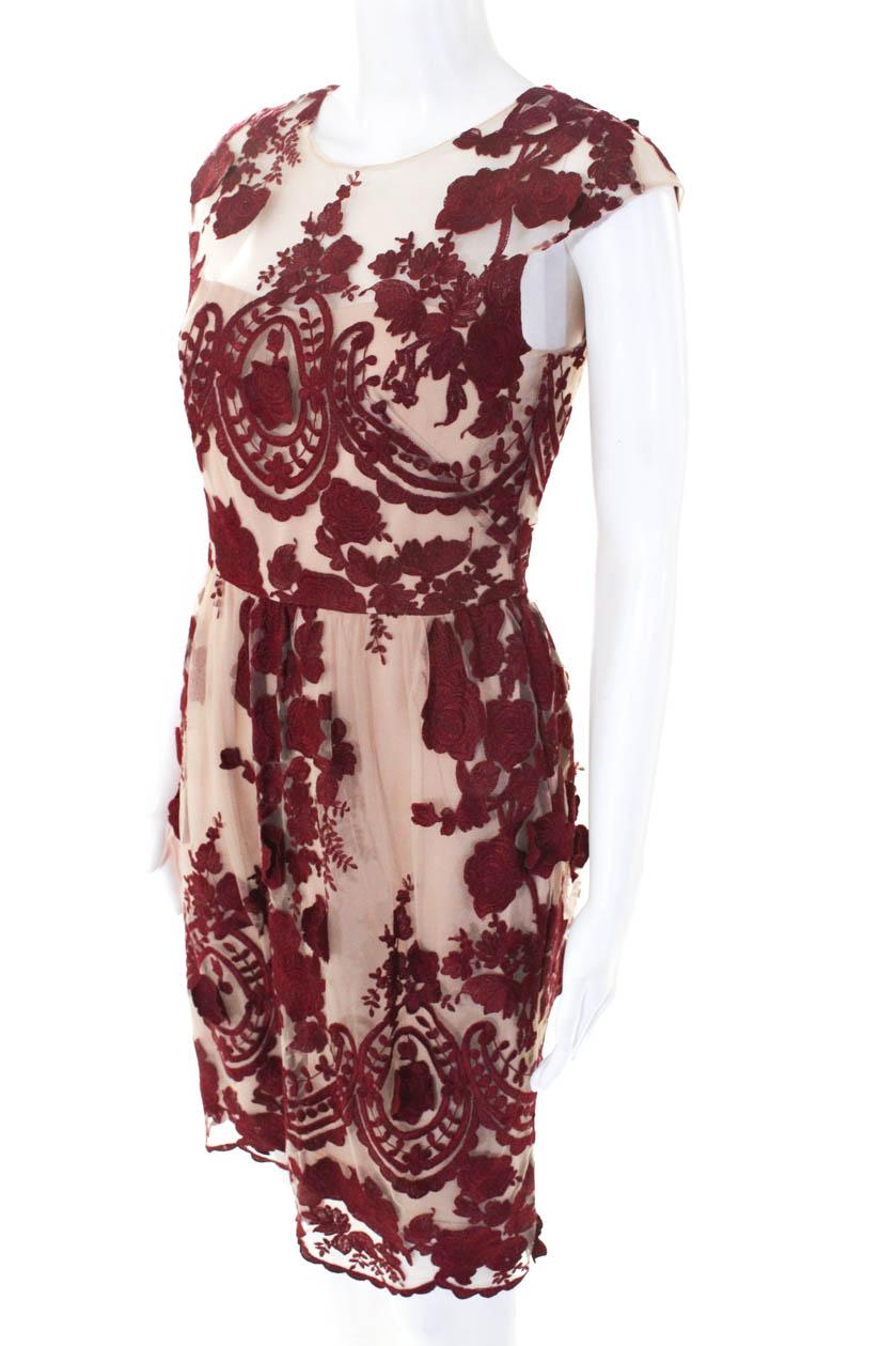 1457af53f29 Marchesa Notte Womens Mena Dress Pink Red Floral Size 4 10202994