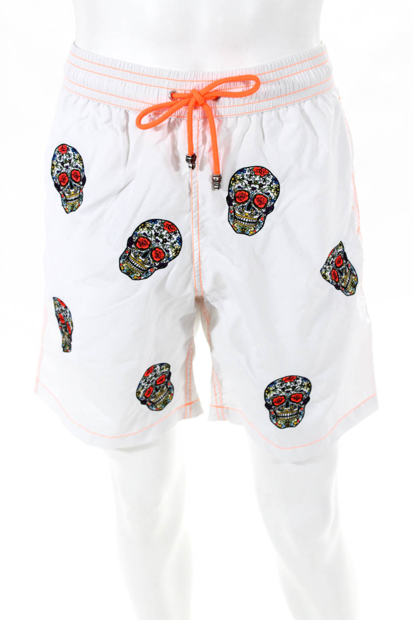 Les Canebiers Mens Swim Shorts Embroidered Insert White Size Large