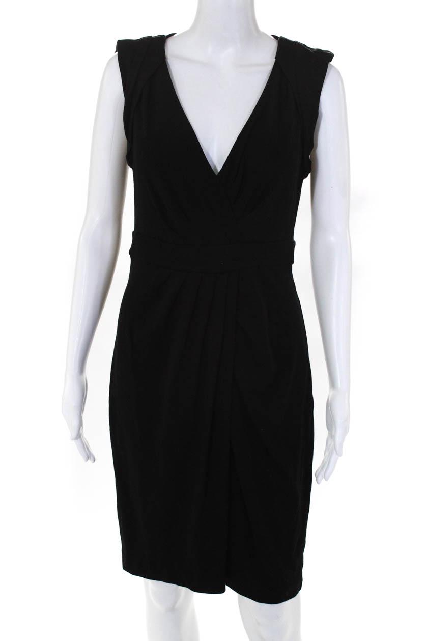 593e5100d533 Details about Diane Von Furstenberg Womens Sleeveless V Neck Wrap Dress  Black Size 10