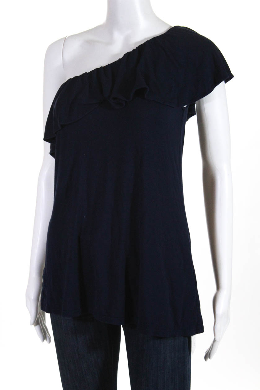 abfd954174de9b Lilly Pulitzer Womens Ruffle One Shoulder Blouse Top Navy Blue Size Medium  2 2 of 6 ...