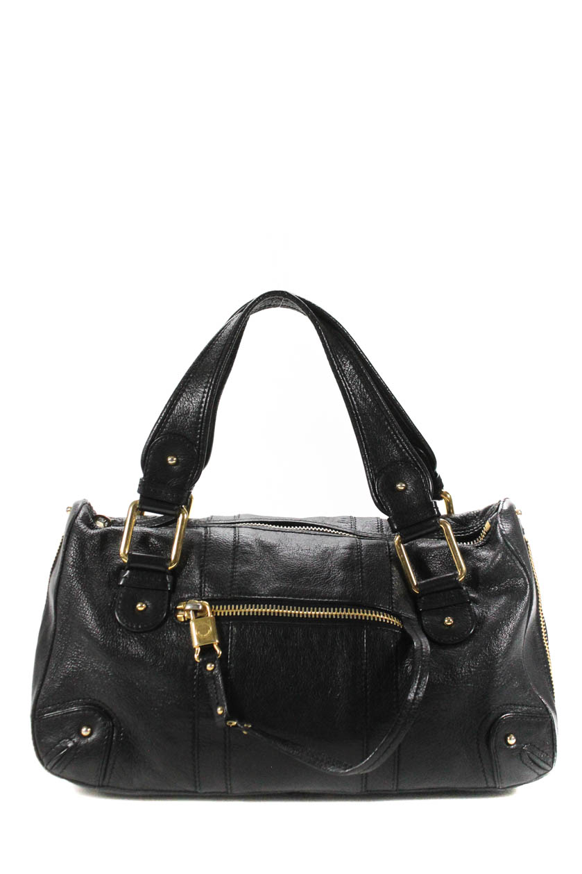 277f884daf14 Details about Marc Jacobs Womens Zipper Detail Leather Tote Handbag Black  Gold Tone