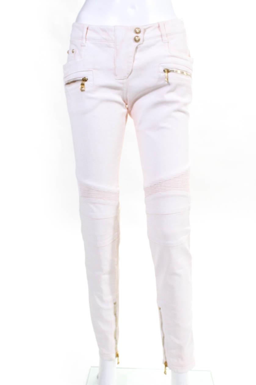 d7529c1f Balmain Womens Pantalon Construction Woven Ankle Zip Skinny Jeans Cotton  Size 38