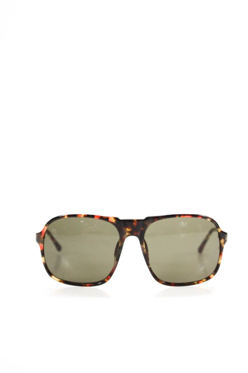 baf3d7bc7127 Details about Linda Farrow Mens Oversize Square Sunglasses Red Brown Yellow  Tortoise
