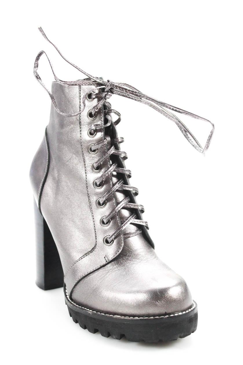 3544a1e3532d Jeffrey Campbell Womens Leather Legion Ankle Combat Boots Silver Size 7.5  Medium