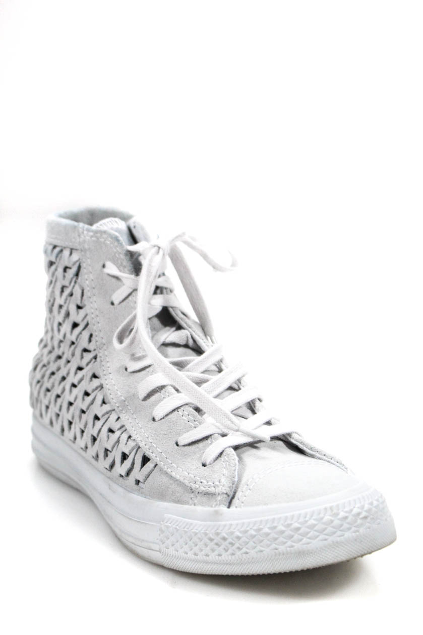 df8fe201ad41 Converse Womens High Top Woven Suede Lace Up Sneakers White Size 8.5 ...