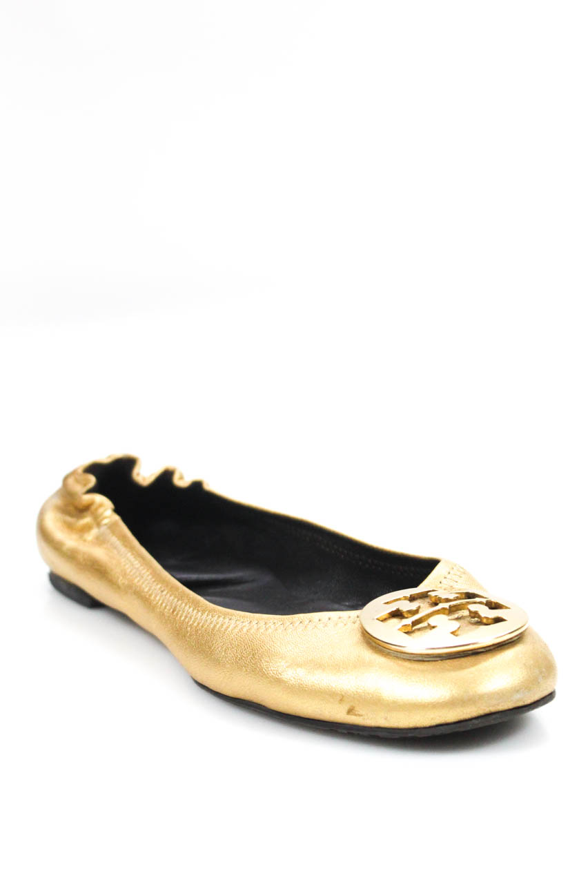0c9ff9396 Tory Burch Womens Ballet Flats Reva Gold Metallic Leather Size 10.5 ...