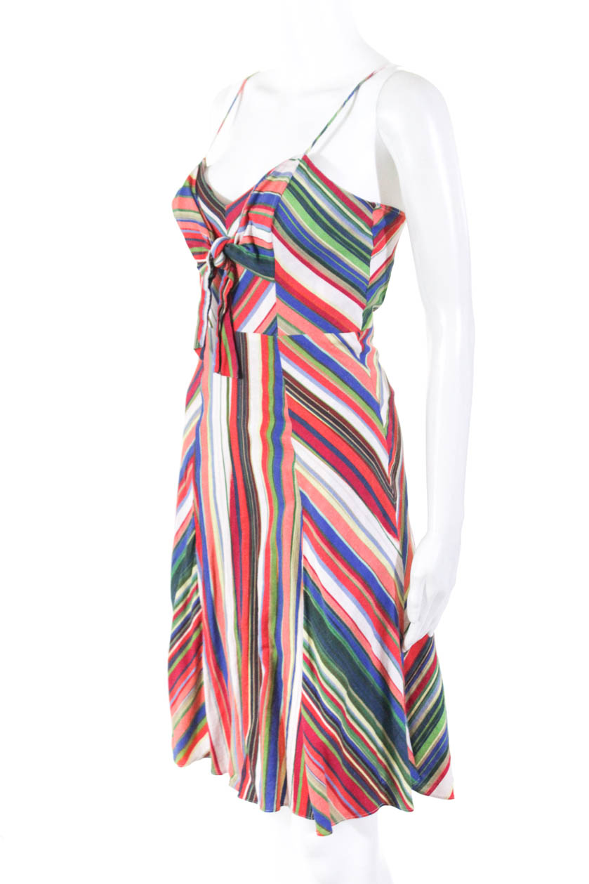 Parker Womens Striped pinkmary A-Line Above Knee Knee Knee Dress Linen Size 2 11222801 f9487f