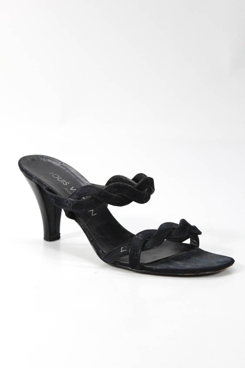 ee7c28347d28 Louis Vuitton Women Open Toe Sandal Heels Black Monogram Print Silk ...