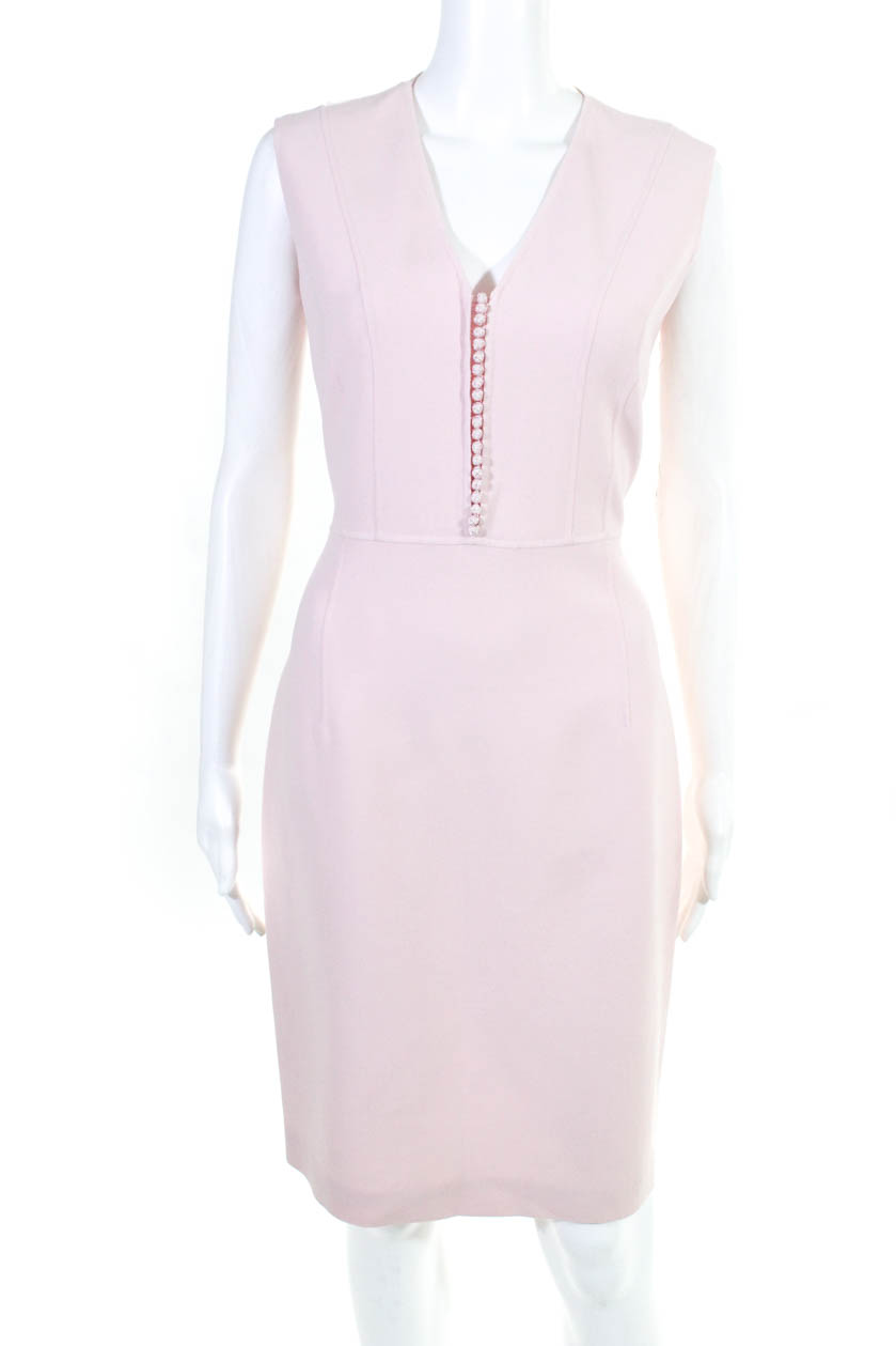 b70d5b95100dee Celine Womens Sleeveless V Neck Button Down Dress Pink Wool Size 42 ...