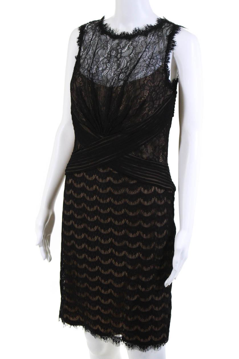 ae8c66ba Tadashi Shoji Womens Boat Neck Sleeveless Lace Sheath Dress Black ...