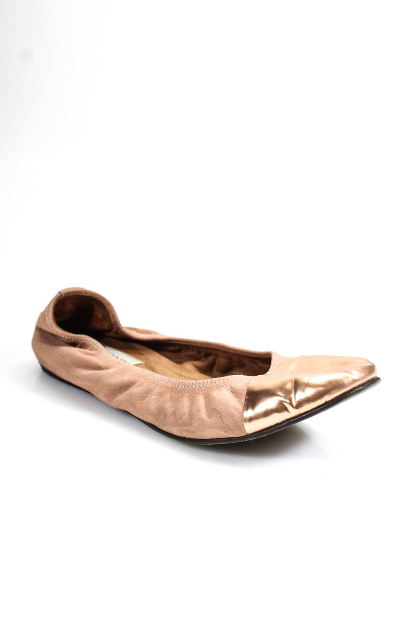 be5c44249b3 Details about Lanvin Womens Round Toe Ballet Flats Bronze Metallic Leather  Size 38.5