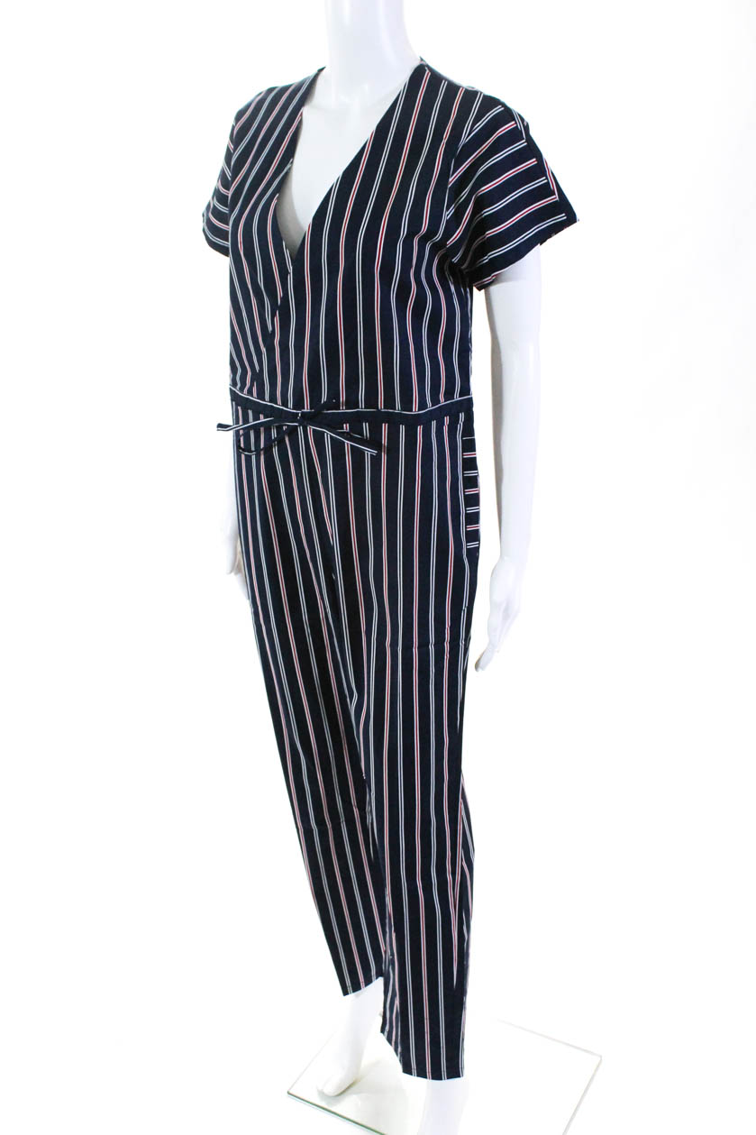 Les Canebiers Womens Chenes Striped Romper Navy Size 38