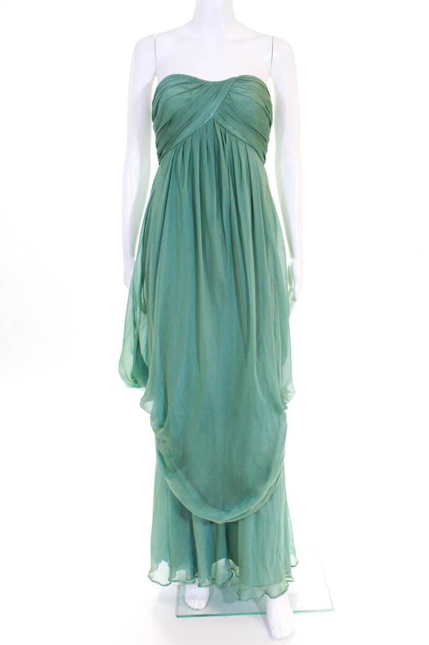 26ae9171b Carmen Marc Valvo Womens Silk Sweetheart Strapless Evening Gown Green Size 4