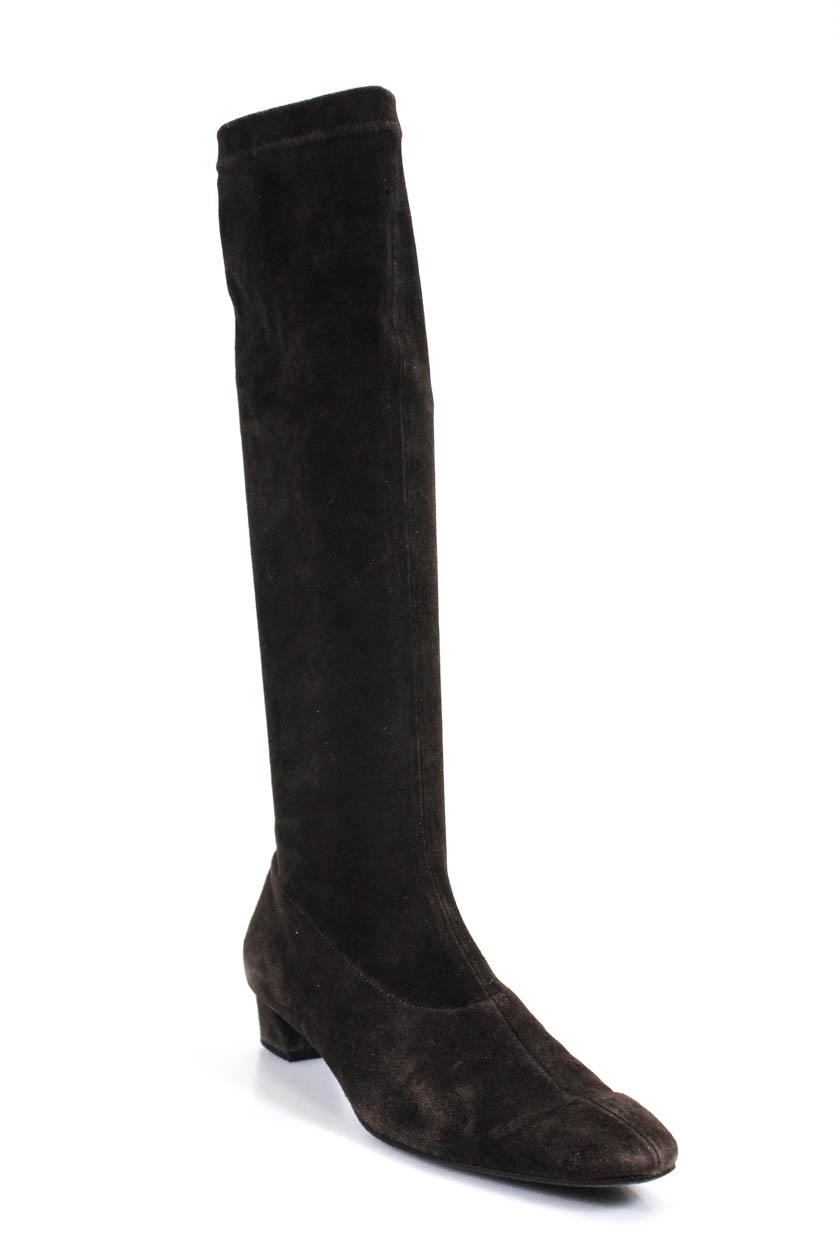 33181774b14 Robert Clergerie Womens Suede Knee High Boots Brown Size 10