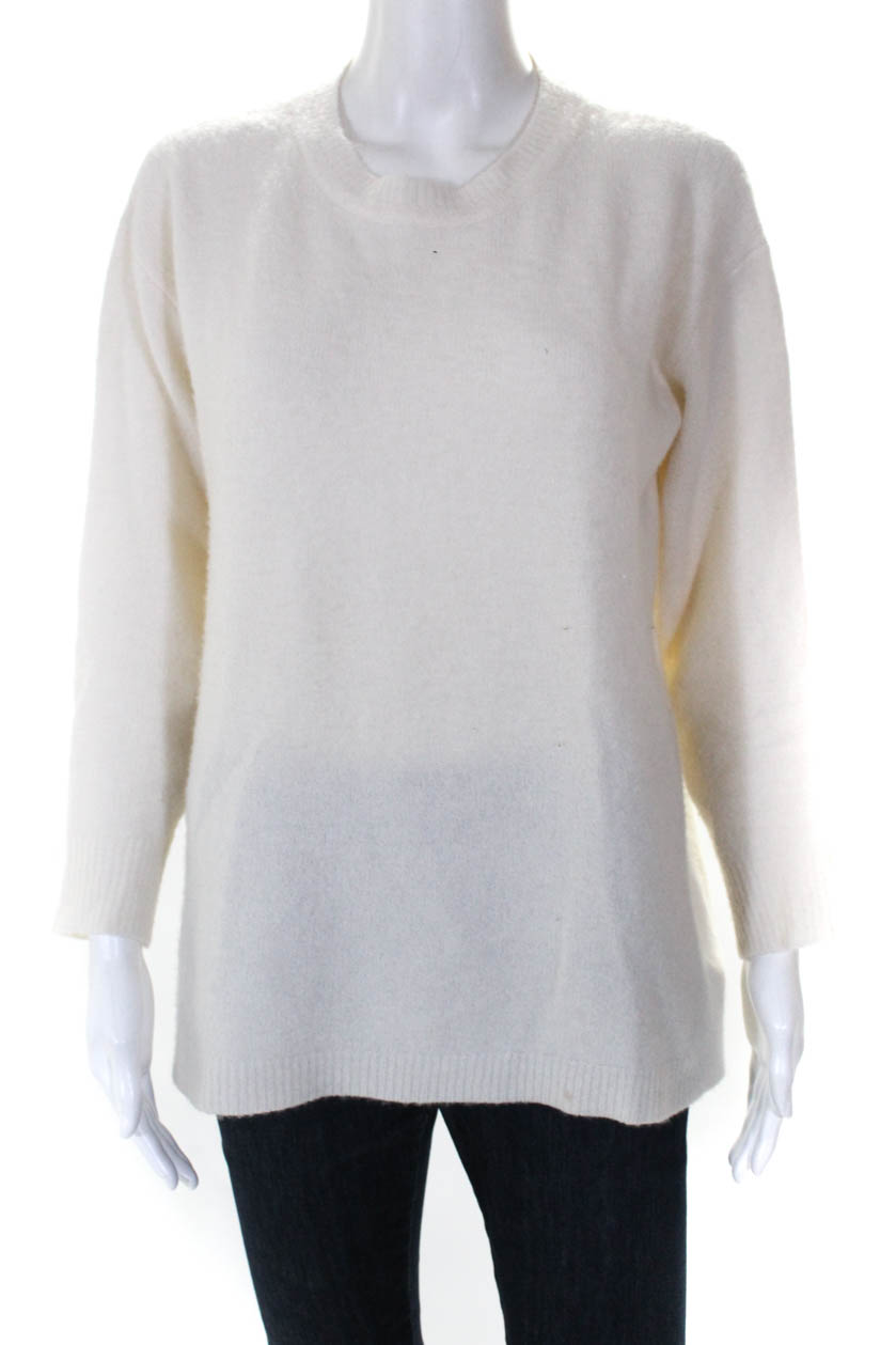 b1cacda4f Details about James Perse Womens Long Sleeve Crew Neck Cashmere Blend  Sweater White Size 1