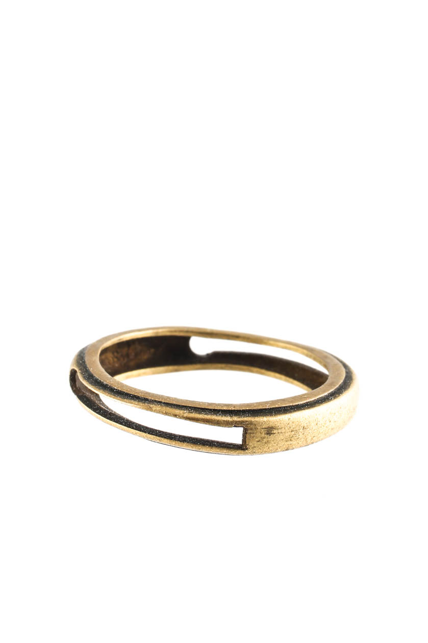 7c971ee52bd1 Details about Eddie Borgo Mens Small Guard Ring Brass Tone Metal Size 9