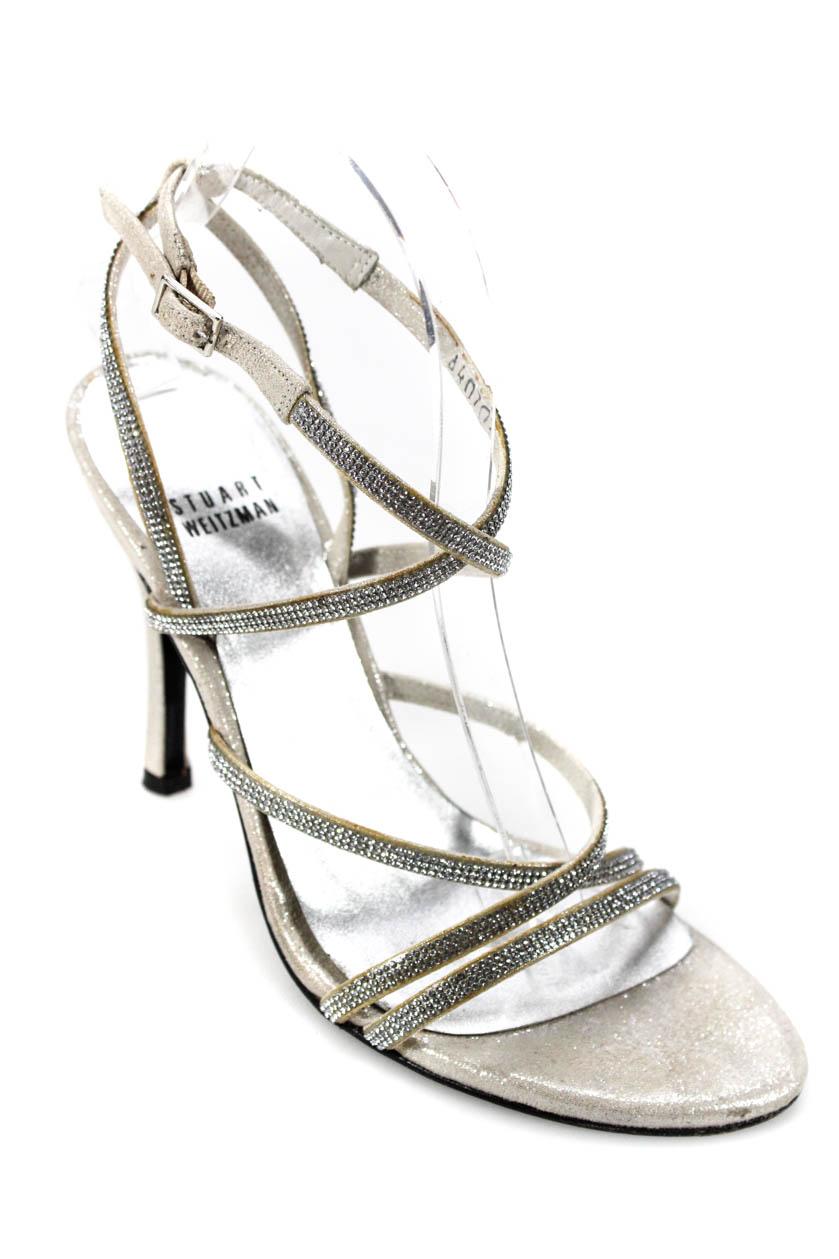 f0abd96f8 Stuart Weitzman Womens Jeweled Strappy Sandal Heels Silver Size 7 Medium