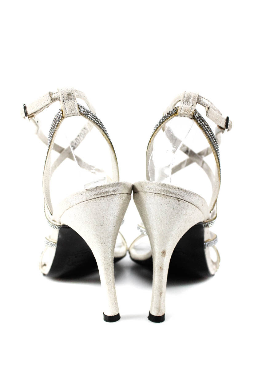 114e67766 Stuart Weitzman Womens Jeweled Strappy Sandal Heels Silver Size 7 ...